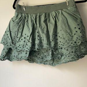 Tiered ruffle eyelet skirt